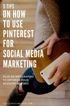 5 tips on how to use Pinterest for social media marketing, with lots of examples. Plus an infographic to optimize your account for SEO. | Via Social Media w/ Priyanka - DIY Social Media and Content Marketing for your Biz + Blog.