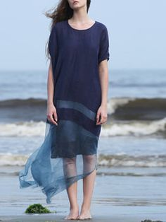 Short Sleeve Paneled Two Piece Casual Crew Neck Maxi Dress