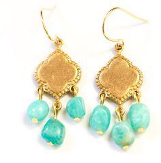 Turquoise Amazonite Chandelier Earrings, Gemstone Chandeliers, Aqua Dangle Earrings by NestPrettyThingsShop on Etsy https://www.etsy.com/listing/289352435/turquoise-amazonite-chandelier-earrings