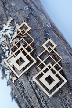 Filigree Laser Cut Wood Earrings / Geometrical by Lubawastyle
