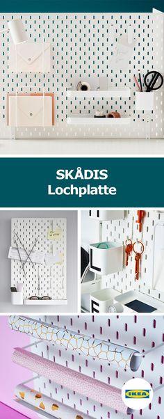 IKEA Deutschland   SKÅDIS ist eine sehr vielseitige Wandaufbewahrung, die sich immer wieder neu kombinieren lässt. Behälter, Fächer, Briefablagen und Elastikbänder sorgen für Organisation im Alltag, ob bei Küchenutensilien oder Alltagsgegenständen im Eingangsbereich, ob bei Badezimmersachen oder am Schreibtisch. Alles schnell zur Hand. #ikeahacks #aufbewahrung #diyprojekt