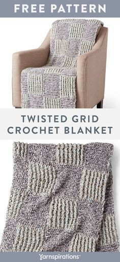 Free Twisted grid Crochet Blanket pattern using Bernat Softee Chunky Twist yarn. This project works up quickly using front and back post double crochet and half double crochet through the third loop. Using two shades of Bernat Softee Chunky Twist gives this crochet blanket a gorgeous marbled effect. #yarnspirations #freecrochetpattern #crochetafghan #crochetblanket #crochetthrow #texturedblanket #bernatyarn #bernatsofteechunky #chunkyyarn