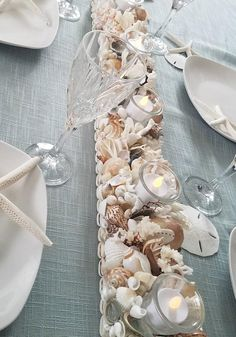 Sea Shell Candle Holder-Beach Decor Seashell candle holder-centerpiece, wedding, Beach Decor - Candle Holder - Indoor Lighting Gift Ideas - You are in the right place about diy projects Here we offer you the most beautiful pictures about - Seashell Candles, Seashell Crafts, Beach Crafts, Tea Light Candles, Tea Lights, Seashell Centerpieces, Centerpiece Ideas, Crafts With Seashells, Beeswax Candles