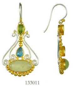 Blue Topaz, Prehnite and peridot earrings  - Eucalyptus Island Collection