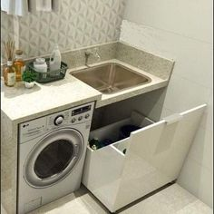 Stunning small laundry room storage in 2020 Small Laundry Rooms, Laundry Room Storage, Laundry In Bathroom, Small Bathroom, Laundry Room Design, Küchen Design, Apartment Kitchen, Home Interior Design, Small Spaces