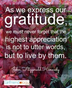 As we express our gratitude, we must never forget that the highest appreciation is not to utter words, but to live by them. – John Fitzgerald Kennedy