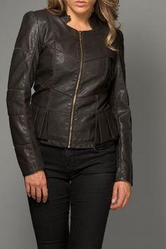 Stylish jacket with pleated peplum and mesh cut outs. Vegan Leather Jacket  by Coalition. Clothing - Jackets Coats & Blazers Chicago Illinois