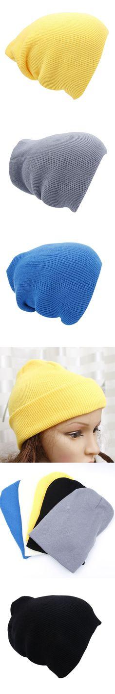 7057f8b6c37 1PC Winter Knit Ski Cap Men s Women plain Beanie Hip-Hop Color Hat Warm  Unisex