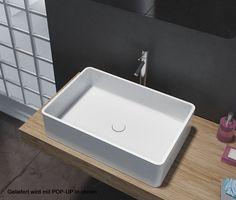 Aufsatzbecken Aufsatz-Waschbecken Rechteck PB2012 - Design geradlinig - 60 x 40 x 15 cm Badewelt Waschbecken
