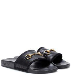 53f06d7c4 GUCCI Horsebit leather slides.  gucci  shoes   Gucci Horsebit