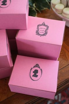 "Vintage Cameo & ""Let Us Eat Cake"" Pink Bakery Boxes by TheGlitterShoppe on Etsy, $15.00"