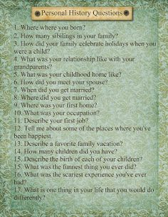 Questions to be filled out at the family reunion.    Heritage Collector Storybook