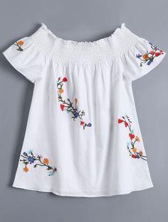 Top Hombros Bordados Con Flores - Blanco M