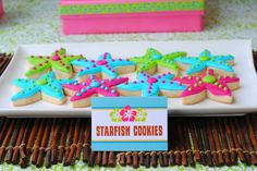 Starfish cookies at a Luau Party #luau #partycookies