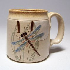 Dragonfly Pottery Mug, signed & dated by clay artists Jim & Gina Mahoney on Etsy.