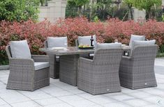 Shop for Furniture of America Estello Contemporary Grey Weather Resistant Dining Set. Get free delivery at Overstock - Your Online Garden & Patio Shop! Get in rewards with Club O! Simple Dining Table, Outdoor Dining Set, Indoor Outdoor Living, Patio Dining, Patio Table, Outdoor Furniture Sets, Outdoor Decor, Outdoor Chairs, 7 Piece Dining Set