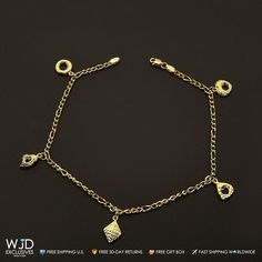 This beautiful diamond cut charm anklet bracelet is crafted in 14k yellow gold.The bracelet measures 9 inches in length, 3mm in width andweighs 3.8 grams. Product Specifics   Metal 14k Yellow Gold   Style Charm Anklet Bracelet   Chain Type Figaro   Stamped 14K   Length 9 inches   Width 3 m... #gold14knecklace