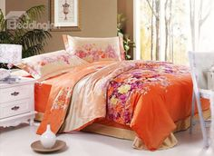 New Arrival 4 Piece Orange with Flower Print Bedding Sets