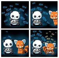 Definitely the panda. Cute Animal Drawings, Kawaii Drawings, Cute Drawings, Anime Animals, Funny Animals, Cute Animals, National Comic Book Day, Panda Love, Panda Panda