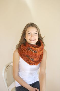 Handmade Terra-Cotta Wool Chunky Loop Cowl Collar Scarf  Mothers Day gift
