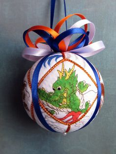 Dragons Japanese Kimekomi Ornament by OrnamentDesigns on Etsy