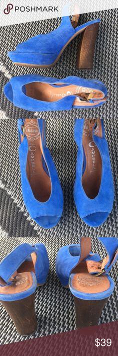 "Jeffrey Campbell blue suede sling back peep toe Blue suede leather sling back pumps from Jeffrey Campbell.  ""Friend"" Jeffrey Campbell Shoes Heels"
