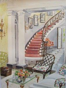 Watercolors of Interiors by Mita Bland | Mita Corsini Bland
