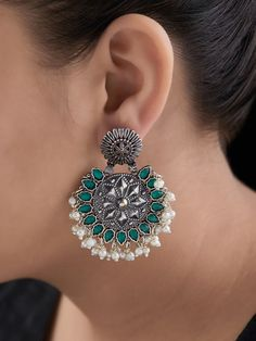 The Loom- An online Shop for Exclusive Handcrafted products comprising of Apparel, Sarees, Jewelry, Footwears & Home decor. Nose Ring Jewelry, Indian Jewelry Earrings, Indian Jewelry Sets, Silver Jewellery Indian, Jewelry Design Earrings, Gold Earrings Designs, Gold Jewelry, Antique Jewellery Designs, Fancy Jewellery