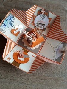 perfect for coupon Diy Presents, Diy Gifts, Boite Explosive, Exploding Gift Box, Scrapbook Box, Diy And Crafts, Paper Crafts, Pop Up Cards, Magic Box