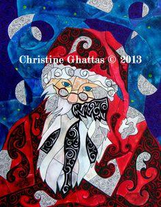 Santa Sees Classic Christmas Santa Claus Original Art by Christine Ghattas Art, $30.00