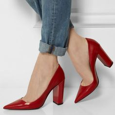 AdoreWe - DressWe Red Pointed Block Heeled Pumps - AdoreWe.com