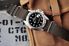 Rolex Explorer II on Grey Nato Band