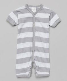 Look what I found on #zulily! Silver & White Stripe Playsuit #zulilyfinds