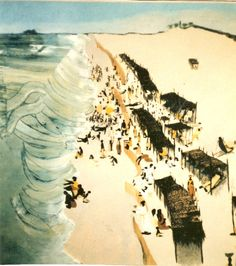 """This painting """"Bar Beach"""", in Lagos by Mayke Sassen is part of her Nigeria series, all of her work from that period has been sold to collectors and institutions. She has a new exhibition in France opening on September 4th, to preview and learn more visit her website http://www.artseaprovence.com/2015/08/maykes-2015-exhibition/"""