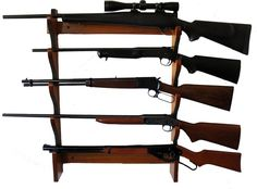 5 Rifle Gun Rack Wooden Weapon Storage Shotgun Wall Mount Shelf Hanging Rustic #5RifleGun