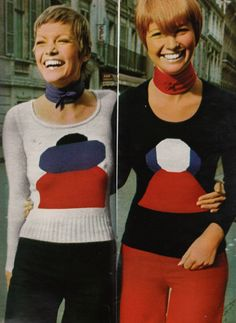 60s 70s twiggy style pixie knit sweaters pants vintage fashion photo print ad models graphic print red white blue black Featherstone Vintage