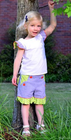 Elegance and Elephants Kid's Choice Series: Hanami {StraightGrain} and Vintage Ruffle Shorts {The Cottage Mama} || sewn by Frances Suzanne