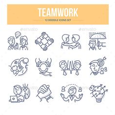 doodle vector line icons of teamwork partnership and social communication in business People Working Together, Doodle Icon, Best Icons, Sketch Notes, Branding, Business Icon, Line Icon, Icon Design, Design Art
