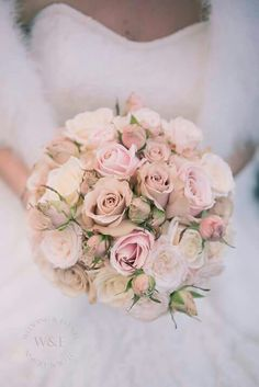 Stunning all Rose Bouquet including Sweet Avalanche by Meijer Roses & Quicksand...created by us at www.weddingandevents.co.uk - North Yorkshire Wedding Flowers
