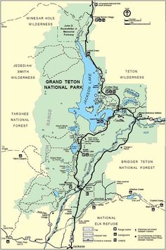 Day Six: Grand Teton overview map. These complex mountains are the home to amazing skiing, climbing, and mountain biking. Wyoming Vacation, Yellowstone Vacation, Yellowstone Park, Us National Parks, Grand Teton National Park, Nationalparks Usa, Yellowstone Nationalpark, To Infinity And Beyond, Gypsy Life