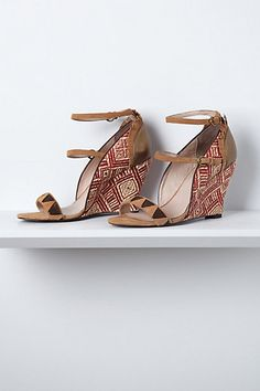"Valencia Wedges #anthropologie  LOVE THESE!!!! However....I would NEVER be able to walk in them....oh well, who ""needs"" to walk anyway???? lol"