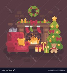 Cozy decorated christmas room with a fireplace a vector image on VectorStock Christmas Fireplace, Christmas Room, Christmas Stuff, Xmas, Christmas Tree With Presents, Christmas Ornaments, Red Armchair, Dog Cafe, Flat Design Illustration
