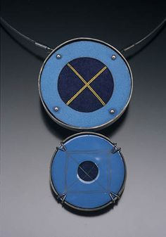 """Jan Smith, Dual Blue Circles II, Neckpiece in sterling silver, copper enamel, pearls, graphite, wool felt, and silk thread. Pendant measures approx 4 1/4 x 2 14"""". Cable is approx 18""""."""