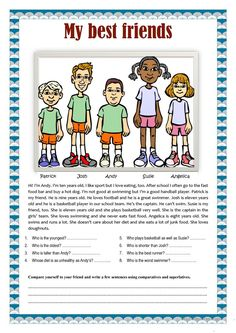 My best friends comparatives and superlatives - English ESL Worksheets for distance learning and physical classrooms Learning English For Kids, English Worksheets For Kids, English Lessons For Kids, English Activities, English Language Learning, Teaching English, Reading Worksheets, Vocabulary Activities, French Lessons
