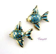 Brooch Fish Scatter pins Blue Gold tone by Vintage55 on Etsy