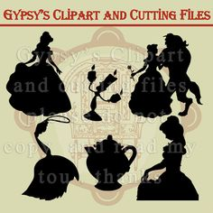 Beauty and the Beast, Silhouettes, Belle, Beast, Disney svg, Cutting file…