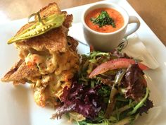 Photo provided by Cafe Adelaide  --  Cafe Adelaide chef Carl Schaubhut uses Louisiana crawfish to make a pepper jack grilled cheese sandwich he pairs with Smoked Tomato-Shrimp Bisque.