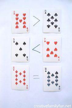 Playing Card Greater Than Less Than Games - Creative Family Fun William Higinbotham developed Math Card Games, Card Games For Kids, Math For Kids, Fun Math, Kindergarten Games, Kids Learning Activities, Summer Activities, Montessori Math, Homeschool Math