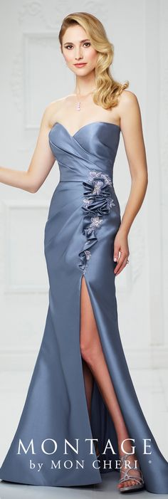 Formal Evening Gowns by Mon Cheri - Fall 2017 - Style No 217939 - wedgwood blue strapless Mikado fit and flare evening dress with side slit