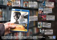 Wodzielak Driving School Guerrilla Marketing Example - Special stickers with comments about films were attached to DVD boxes. At the same time, the stickers communicated the benefits of taking a course in the advertised school.
